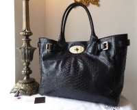 Mulberry Classic Bayswater Tote in Ink Blue Silky Snake Shine Leather