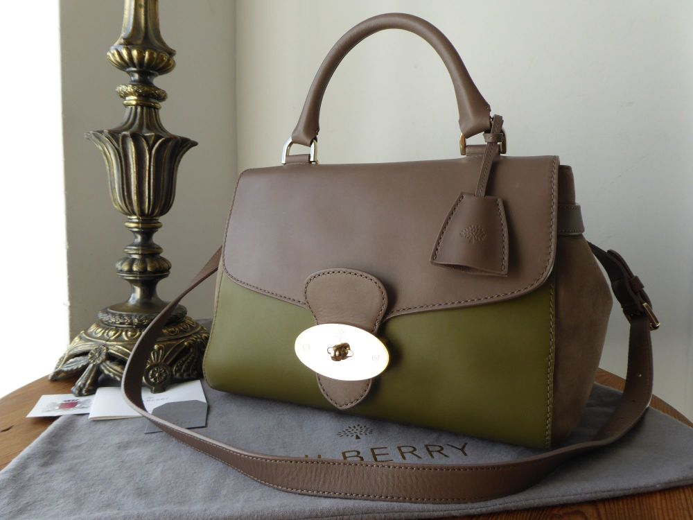 Mulberry Primrose in Pickle Green and Taupe Soft Tan Calfskin with Suede Tr
