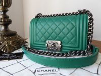 Chanel Boy Small Quilted Flap in Emerald Lambskin with Ruthenium Hardware