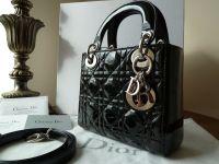 Dior Lady Dior Mini Tote in Black Patent with Silver Hardware