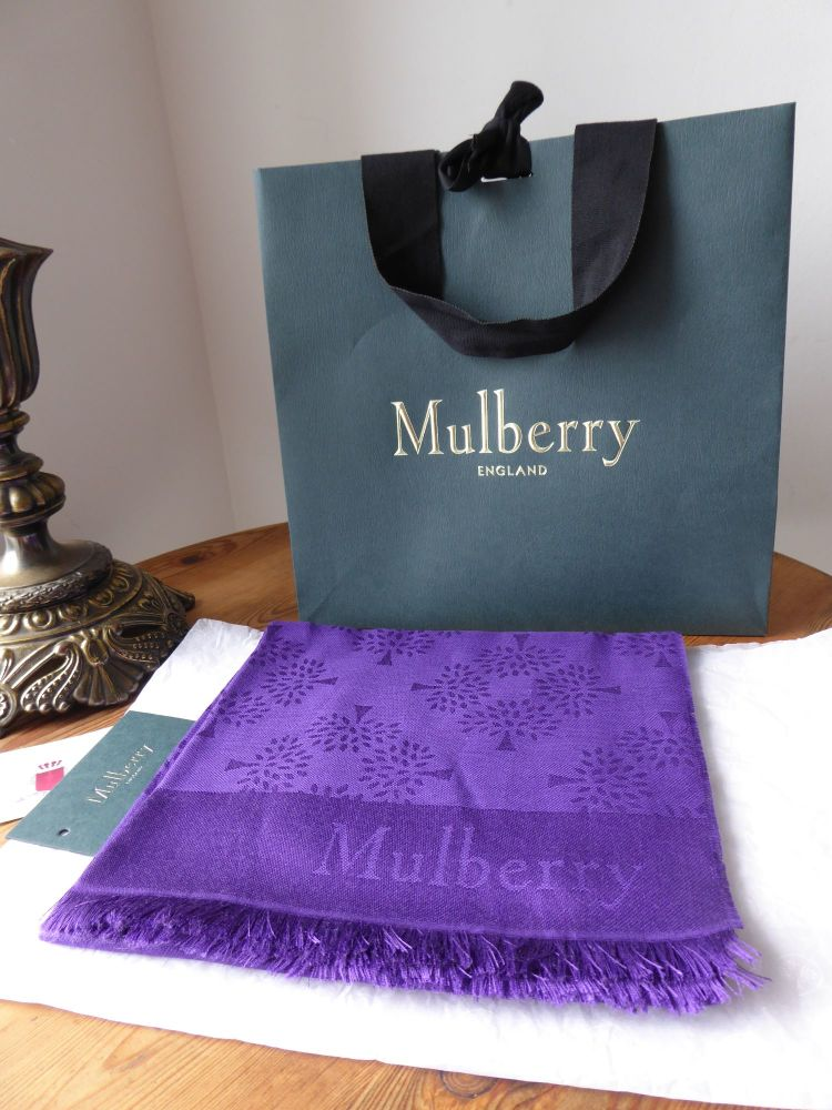 Mulberry Tree Rectangular Scarf in Purple Silk Cotton Mix - New