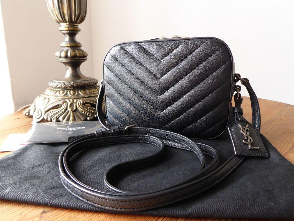 Saint Laurent Monogram Small Camera Bag in Black Grained Calfskin