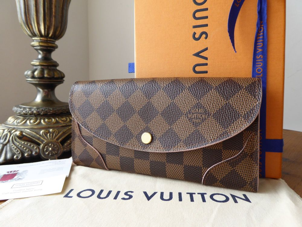Louis Vuitton Caïssa Continental Wallet in Damier Ebene with Rose Ballerine