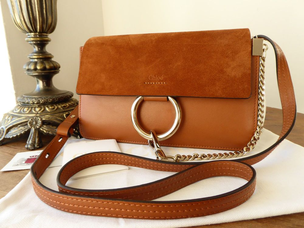 Chloe Faye Small Shoulder Bag in Caramel Smooth Calf and Suede - New*