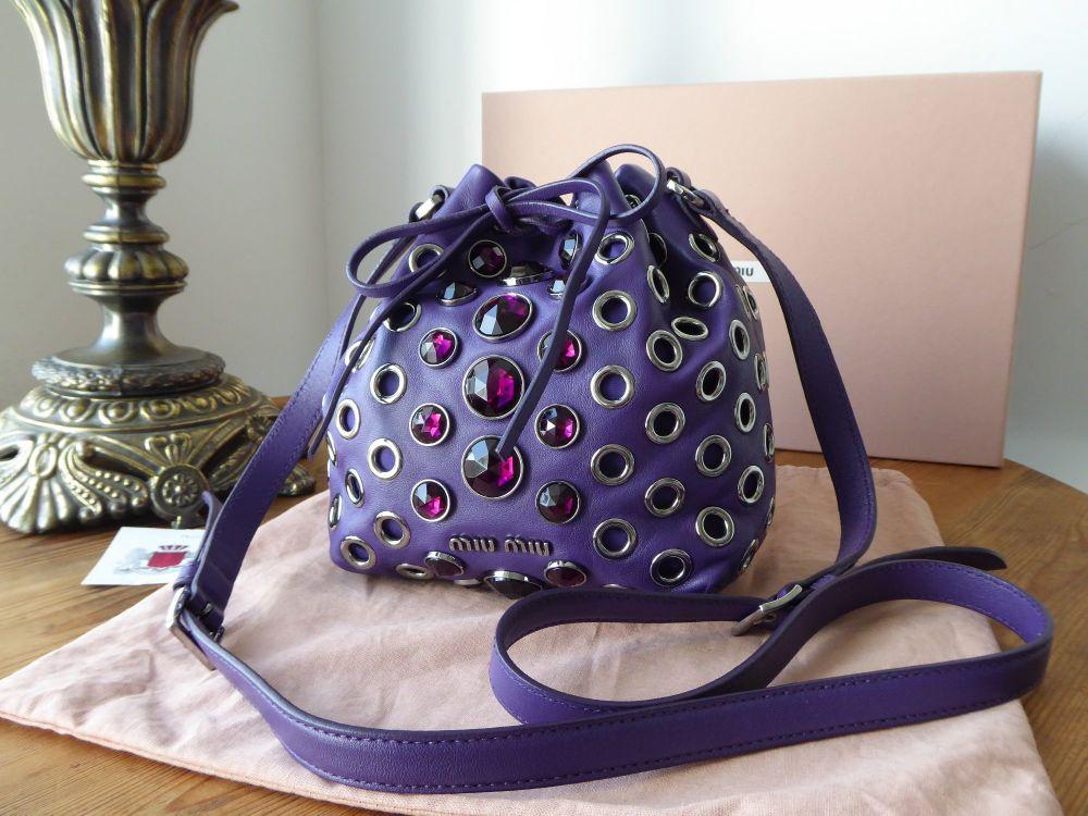 Miu Miu Mini Jewel Embellished Drawstring Crossbody in Violet Nappa Vele