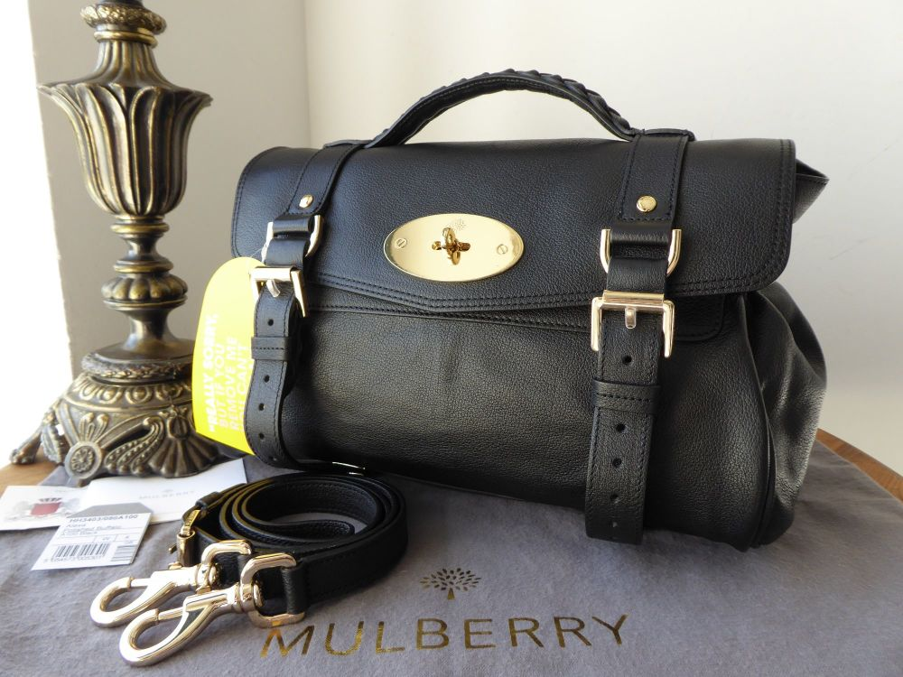 Mulberry Regular Alexa in Black Polished Buffalo Leather - New