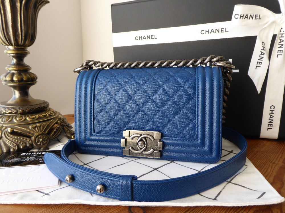 Chanel Small Boy Quilted Flap in Electric Blue Caviar with Antiqued Rutheni
