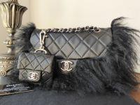 Chanel Tibet Black Lambskin Flap with Mongolian Goat Fur Trim & Micro Flap
