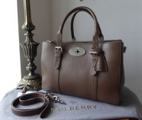 Mulberry Large Bayswater Double Zip Tote in Taupe Shiny Goat Leather
