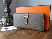 Hermès Bearn Soufflet Bifold Wallet in Epsom Etoupe Grey with Gold Hardware