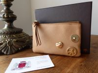 Mulberry Peace and Love Small Zip Pouch in Beige Soft Tan Leather - New