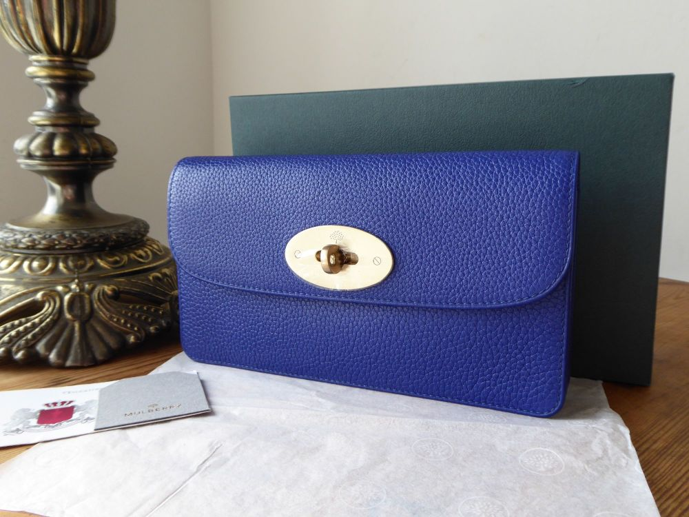 Mulberry Classic Long Locked Purse in Neon Blue Small Classic Grain with So
