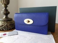 Mulberry Classic Long Locked Purse in Neon Blue Small Classic Grain with Soft Gold Hardware