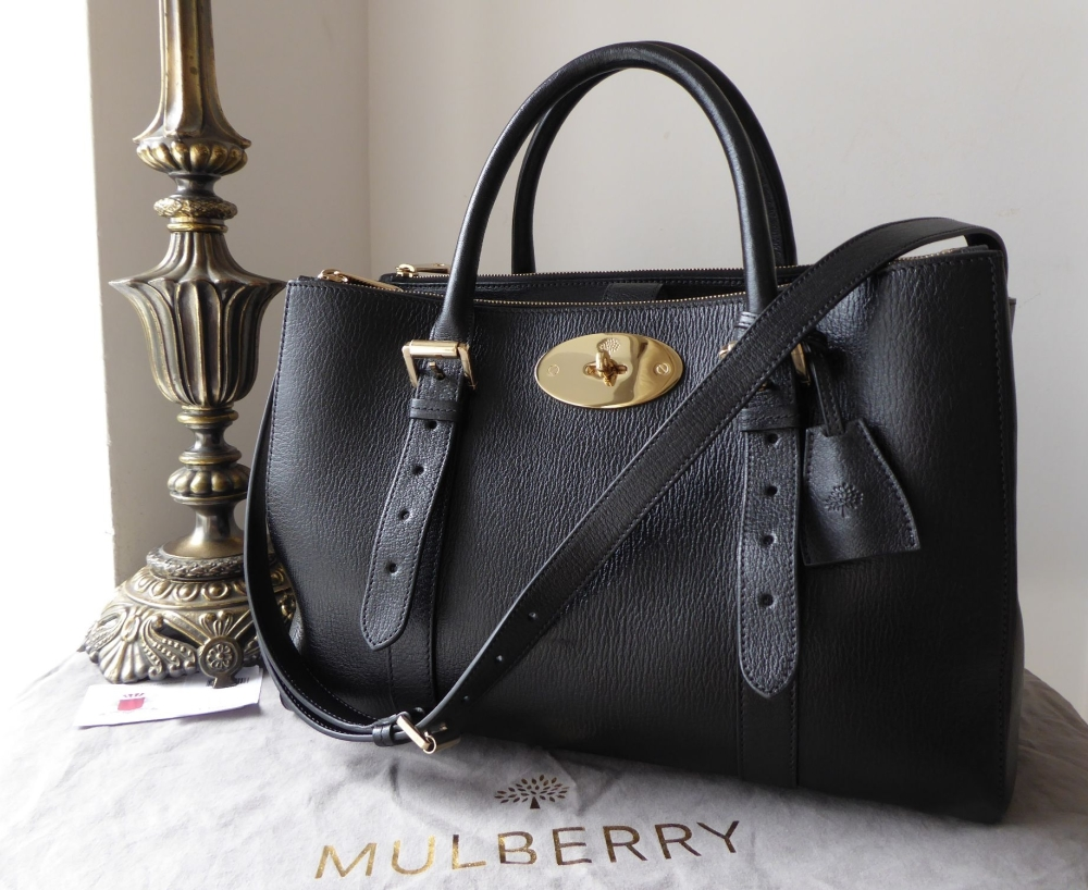 Mulberry Bayswater Large Double Zip Tote in Black Shiny Goat