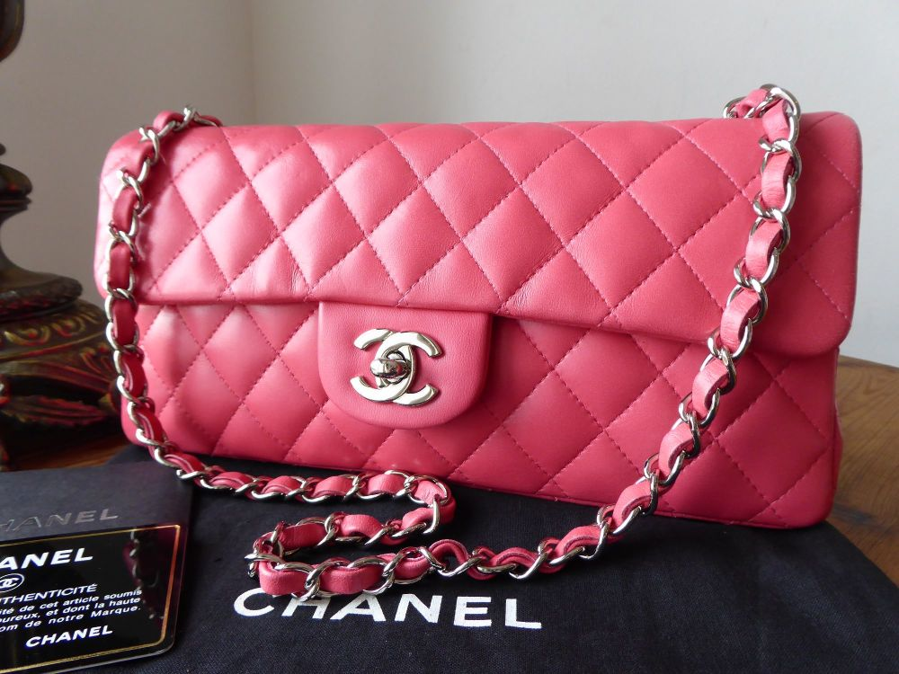 Chanel East West Quilted Flap Bag in Peony Rose Calfskin with Silver Hardwa