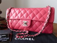 Chanel East West Quilted Flap Bag in Peony Rose Calfskin with Silver Hardware