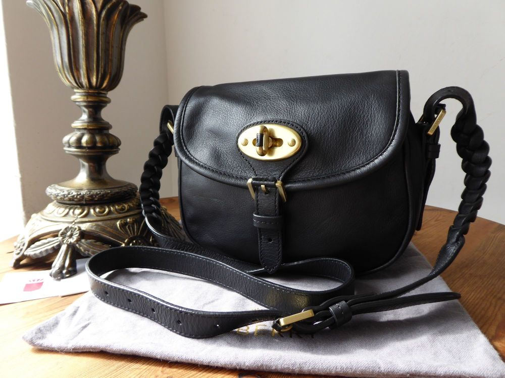 Mulberry Delilah Small Satchel Bag in Black Small Grain Calf Nappa