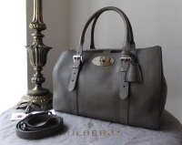 Mulberry Large Double Zip Bayswater Tote in Pavement Grey Small Classic Grain - As New