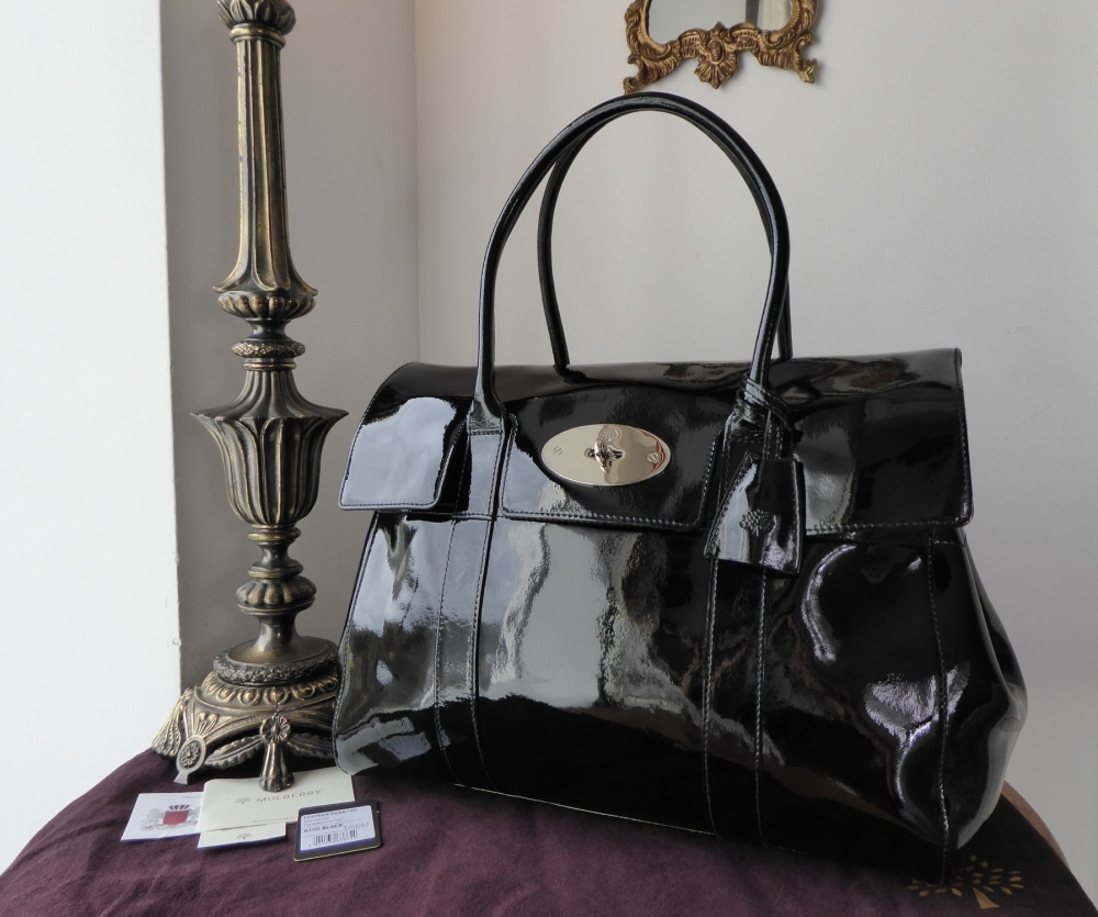 Mulberry Classic Bayswater in Black Drummed Patent Leather with Silver Hard