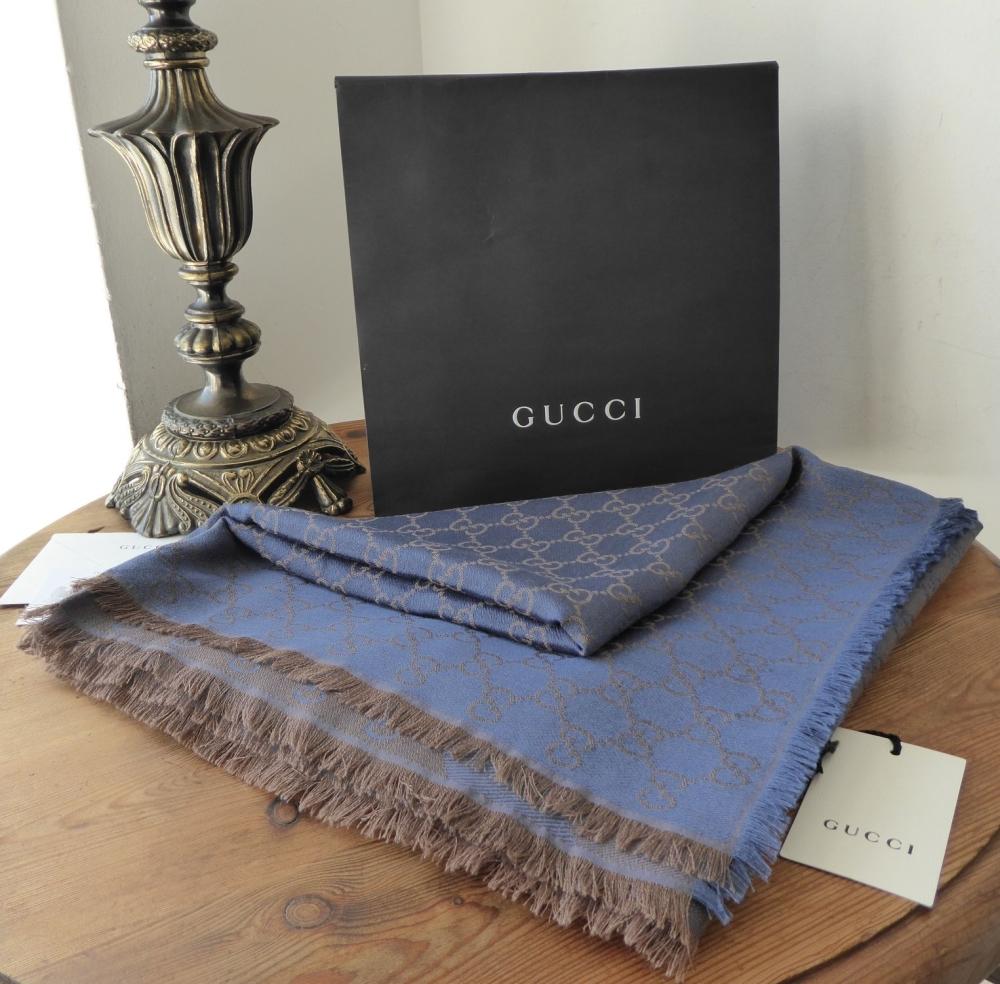Gucci Large Shawl Wrap in Diagonal Stripe GG Web Wool Silk Mix - New