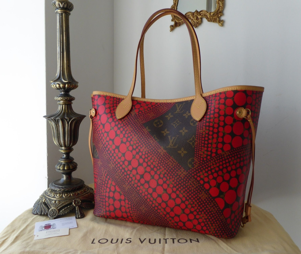 Louis Vuitton Limited Edition Neverfull PM Kusama Waves Monogram Red