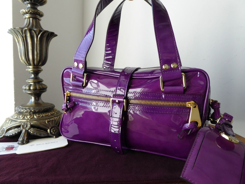 Mulberry Mini Mabel in Bright Purple Patent Leather