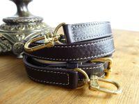 Louis Vuitton Tri Part Shoulder Strap in Ebene Calfskin with Gold Hardware