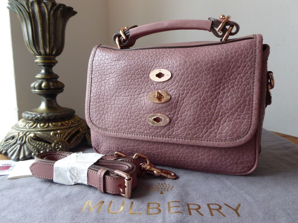 Mulberry Small Bryn Satchel in Blush Shiny Grain with Rose Gold Hardware Ne