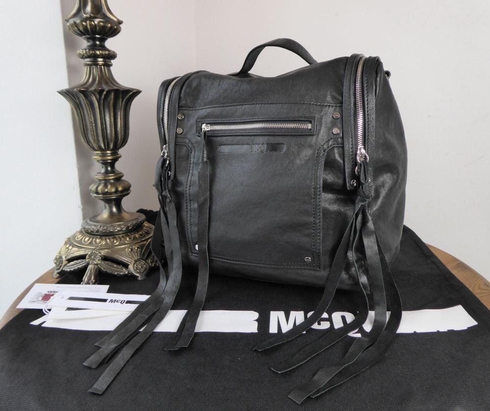 Alexander McQueen McQ Loveless Convertible Box Backpack in Black Sheeps Lea