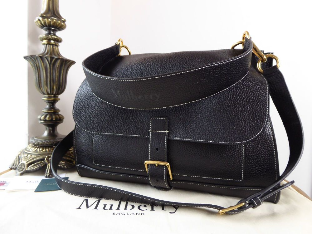 Mulberry Chiltern Buckle Satchel in Black Grained Vegetable Tanned Leather