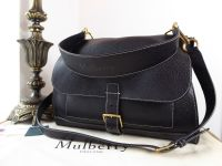 Mulberry Chiltern Buckle Satchel in Black Grained Vegetable Tanned Leather - New