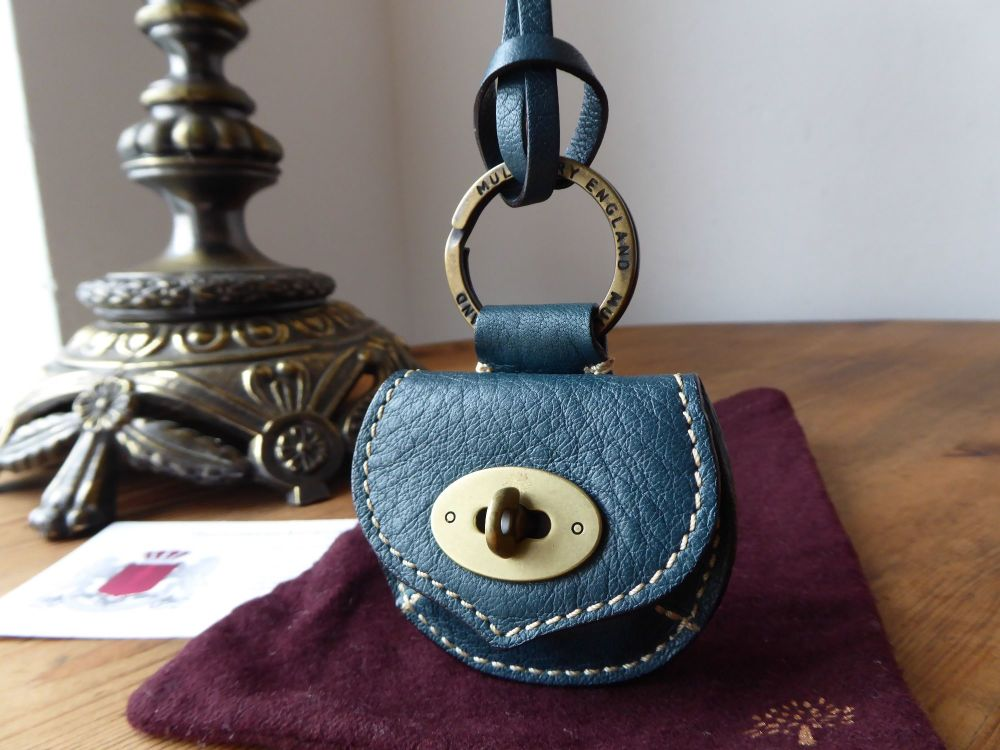 Mulberry Locked Mini Pouch Keychain Bag Charm in Petrol Natural Leather - N