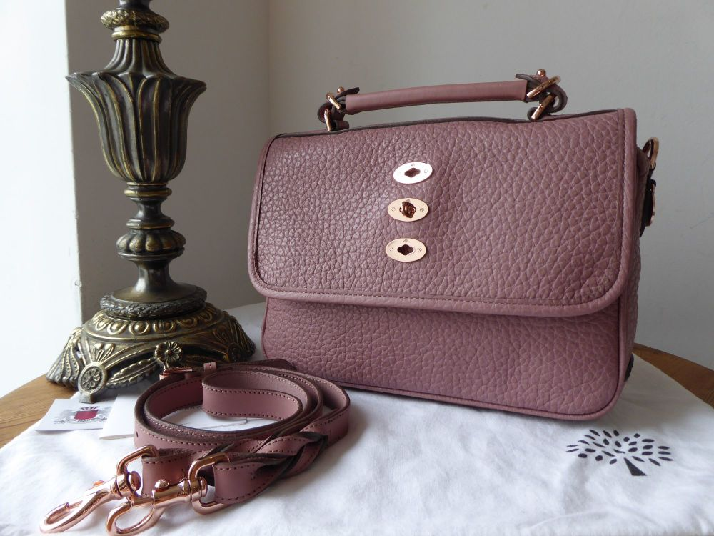 Mulberry Medium Bryn Satchel in Blush Shiny Grain with Rose Gold Hardware