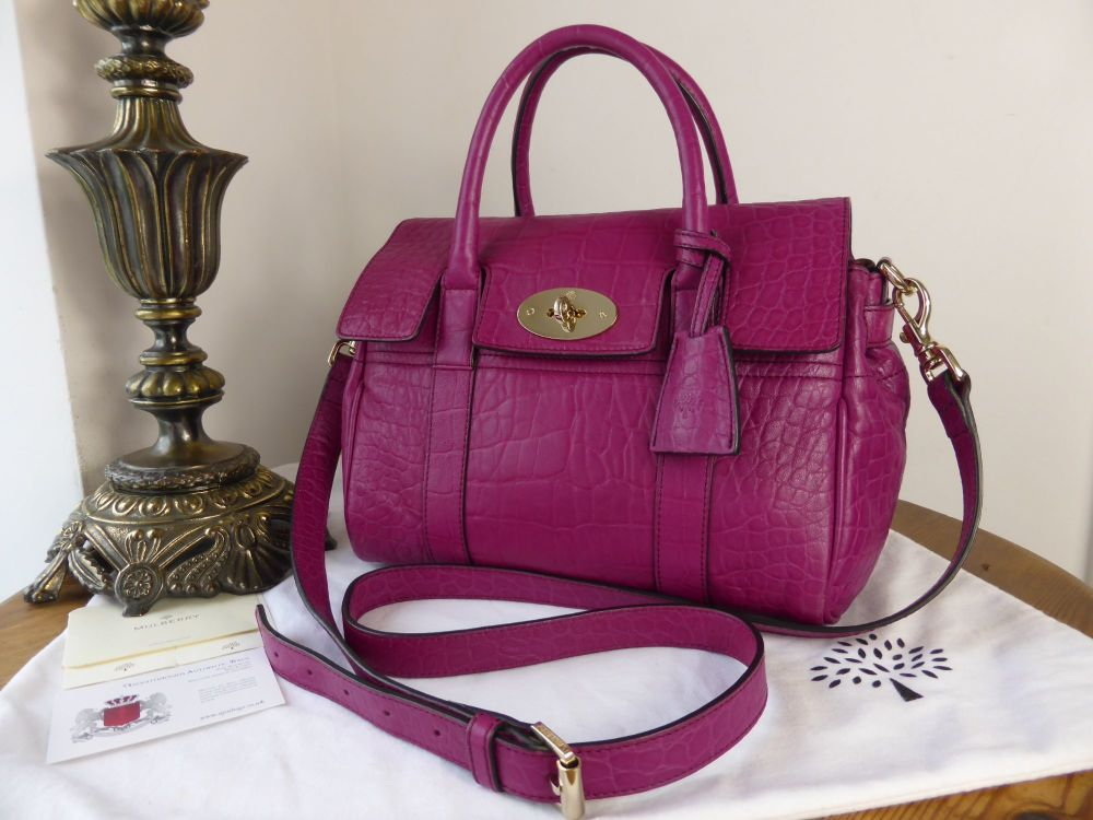 Mulberry Classic Small Bayswater Satchel in Foxglove Pink Croc Print Nappa