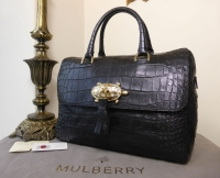Mulberry Del Rey with Turtle Lock in Navy Blue Sparkle Croc Print