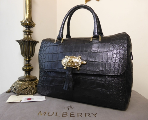 Mulberry Del Rey with Turtle Lock in Navy Blue Sparkle Croc Print ... 33c8d87fa7bcf