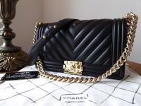 Chanel Old Medium Boy Chevron Black Lambskin with Champagne Gold Hardware