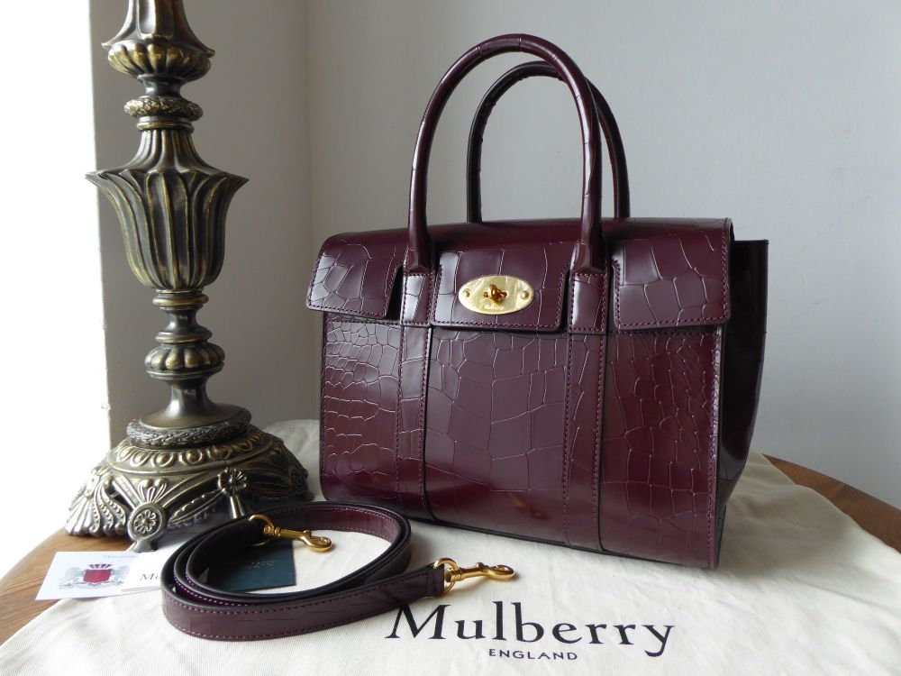 Mulberry Small New Bayswater in Burgundy Polished Deep Embossed Croc Print
