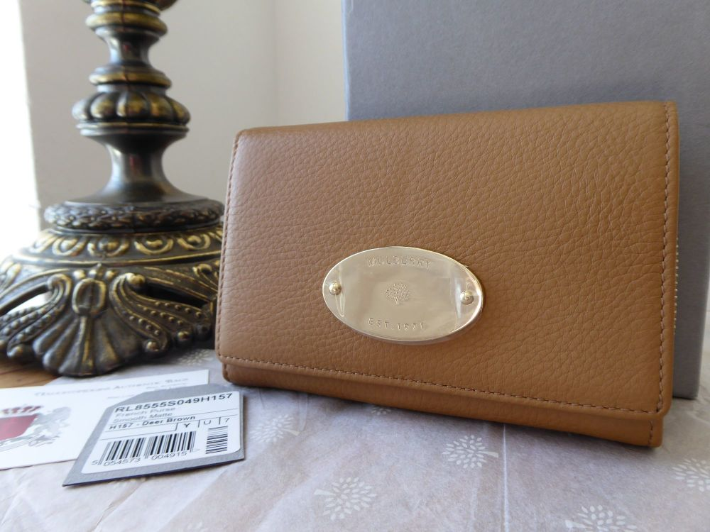 Mulberry French Purse in Deer Brown Smooth Matte Leather - New