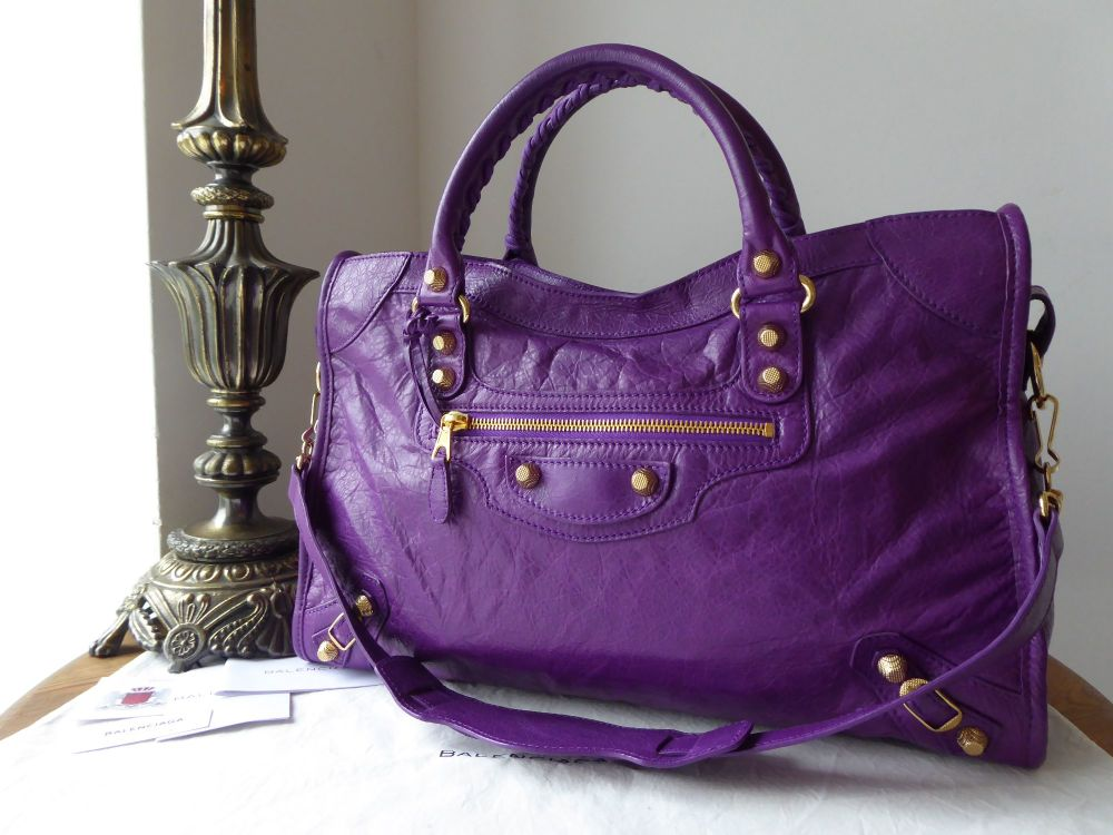 Balenciaga City in Ultra Violet Lambskin with Giant 12 Shiny Gold Hardware