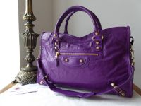 Balenciaga City in Ultra Violet Lambskin with Giant 12 Shiny Gold Hardware - As New*