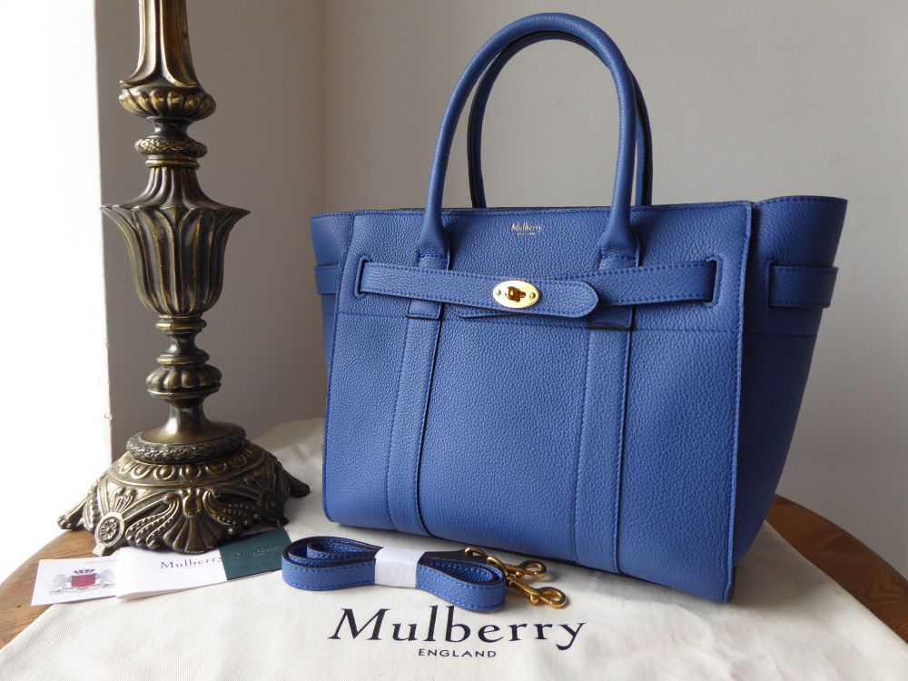 Mulberry Small Zipped Bayswater in Porcelain Blue Small Classic Grain - New