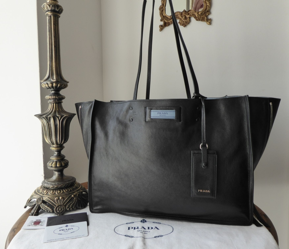 wide selection of designs incredible prices provide large selection of Prada Etiquette Tote in Black Glace Calfskin with Astral Blue Suede Lining  & Felt Handbag Liner - SOLD