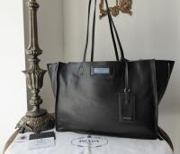 Prada Etiquette Tote in Black Glace Calfskin with Astral Blue Suede Lining & Felt Handbag Liner - SOLD