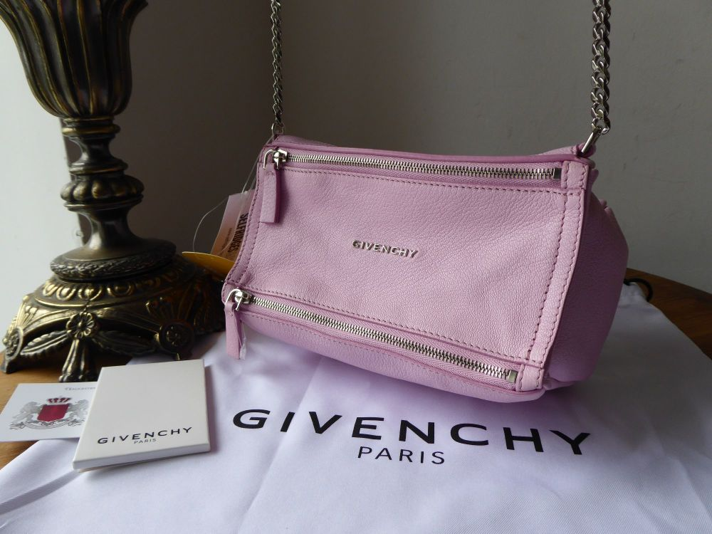 Givenchy Mini Pandora Box Chain in Pastel Pink Goatskin New