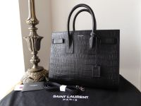 Saint Laurent Small Classic Sac De Jour in Black Crocodile Embossed Leather - SOLD