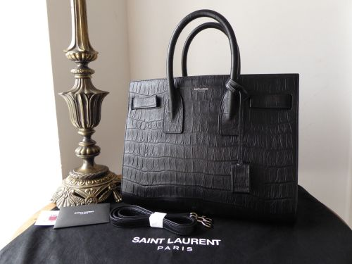 e677bc012cba Saint Laurent Small Classic Sac De Jour in Black Crocodile Embossed Leather