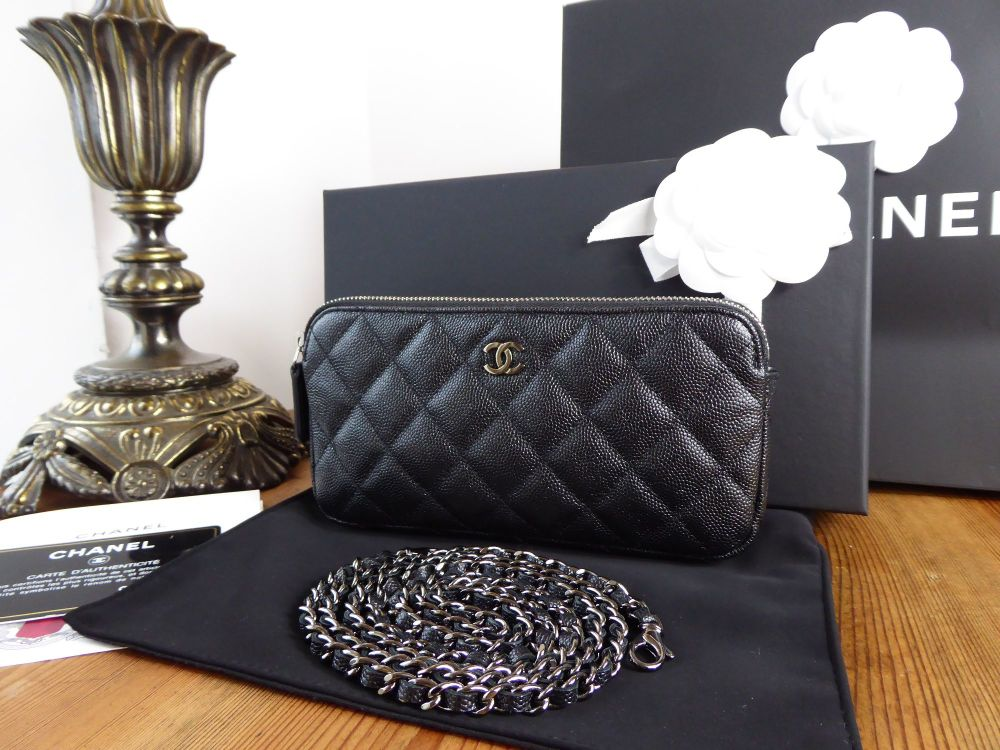 Chanel Twin Zipped Pochette in Iridescent Black Caviar with Polished Silver