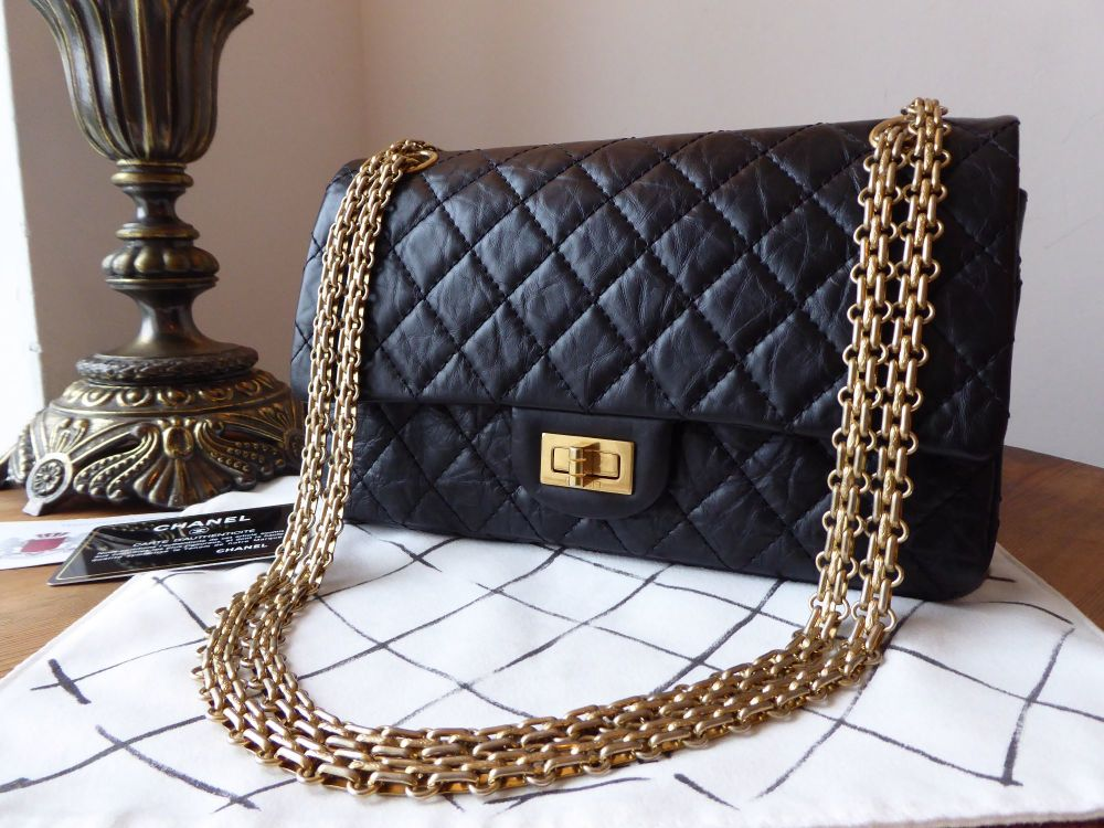 Chanel 225 Reissue Double Flap Bag in Black Distressed Calfskin and Antique