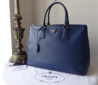 Prada Large Galleria Double Zip Tote in Bluette Saffiano Lux